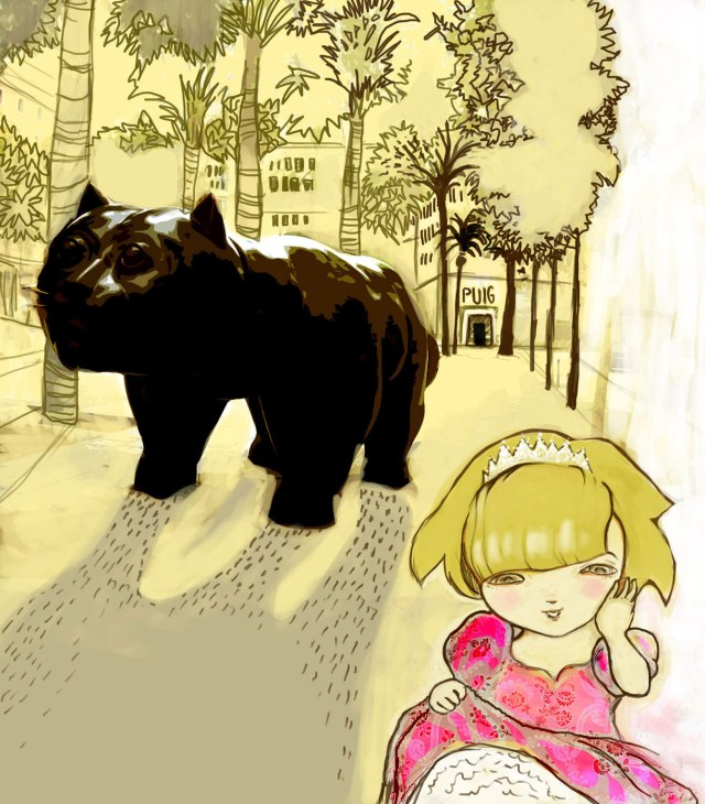 girl-and-botero-cat-in-barcelona